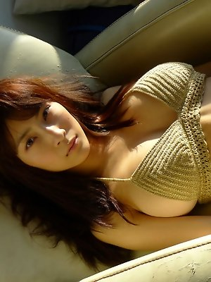 Asana Kawai Asian puts army coat on her big bra in knitted bra